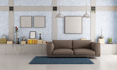 Brown couch in a loft with brick wall and concrete pillar - rendering photo