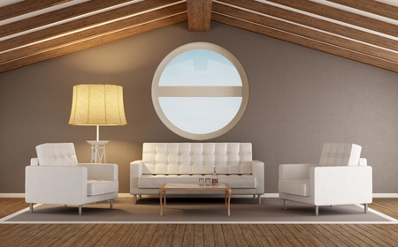 Modern living room in an attic with wooden roof and round window - rendering photo