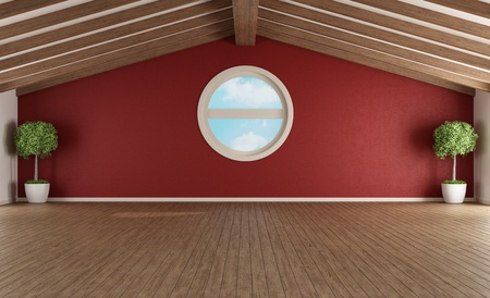 Empty attic with wooden roof and round windows - rendering photo