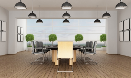 Meeting room in a contemporary interior - rendering photo