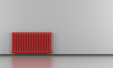 Red empty room with hot water radiator - rendering Stock Photo