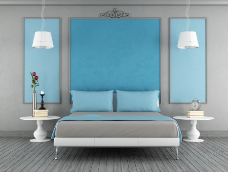 Blue and gray vintage bedroom with contemporary blue double bed - rendering photo