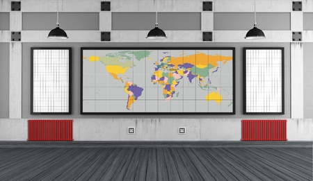 http  www: Empty university classroom with board - rendering - The earth texture-map were completely hand traced from http   www evl uic edu pape data Earth