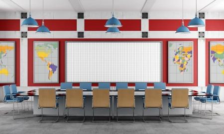 pokoj: Červená a modrá Zasedací místnost v podkroví - reprodukce - země textury-map byly kompletně ručně sledovat od http www EVL UIC edu Pape dat Země Reklamní fotografie