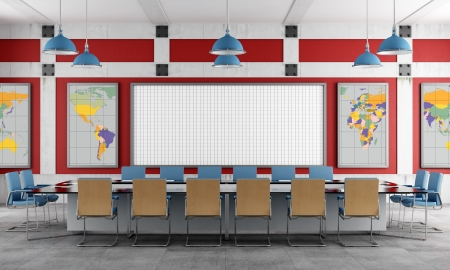 boardroom: Red and blue Meeting room in a loft - rendering -  The earth texture-map were completely hand traced from http   www evl uic edu pape data Earth   Stock Photo