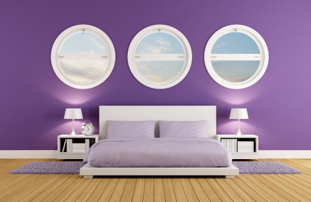 Purple bedroom with modern double bed and three round windows - rendering photo