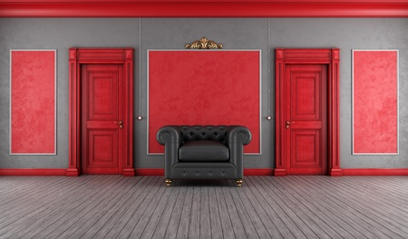 Luxury interior with red wooden doors and black leather armchair - rendering photo