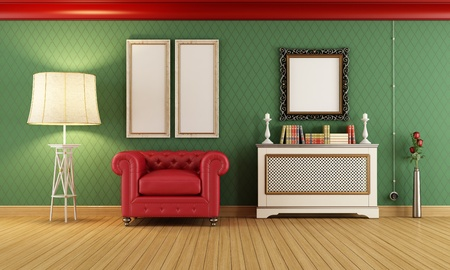 Vintage room with red armchair and cover radiator - rendering photo