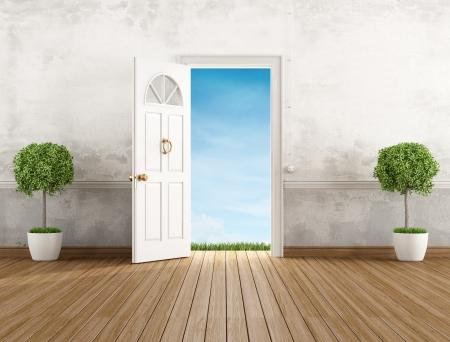 Vintage huis entree met open deur - rendering