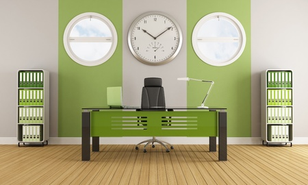 Green contemporary office with furniture and round windows - rendering