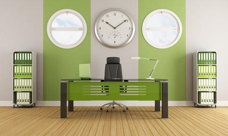 Groene moderne kantoor met meubilair en ronde ramen - rendering Stockfoto