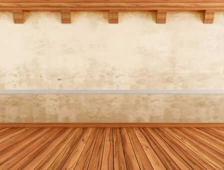 wood floor: Empty interior with grunge wall and wooden beams - rendering