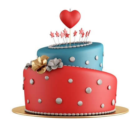happy birthday heart shapes: Red and blue birthday cake with candle in the shape of heart isolated on white - rendering Stock Photo
