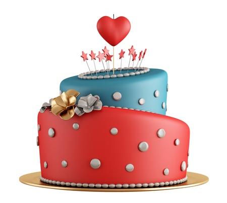 velas de cumpleaños: Rojo y azul pastel de cumpleaños con velas en forma de corazón aislado en blanco - representación