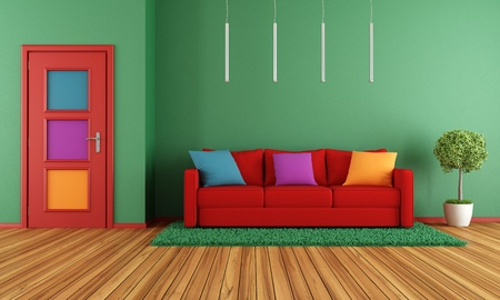 Colorful modern interior with sofa and closed door-rendering photo