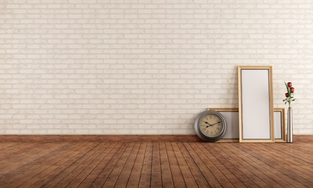 Empty vintage interior with brick wall, clock and blank frame on the floor - rendering photo