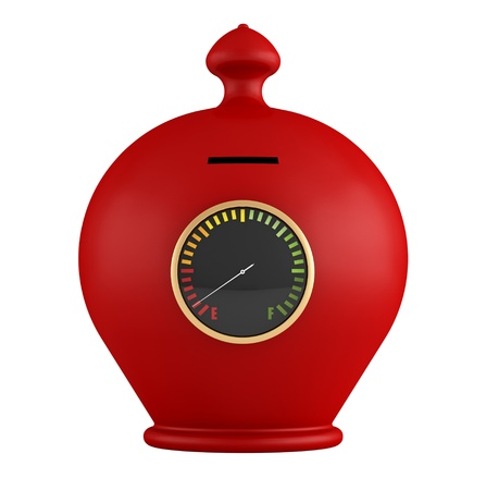 moneybox: Empty red moneybox with fuel gauge isolated on white - rendering