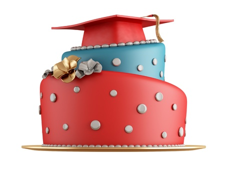 fresh graduate: Red and blue graduation cake with cap on the top - rendering