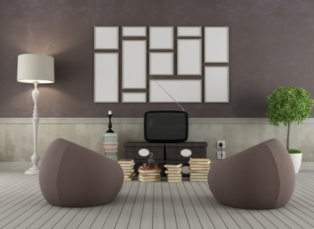 Vintage living room with two fashion armchair and old television - rendering photo