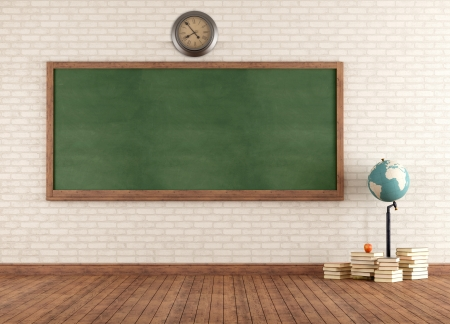 classroom training: Empty vintage classroom with green blackboard against brick wall - rendering