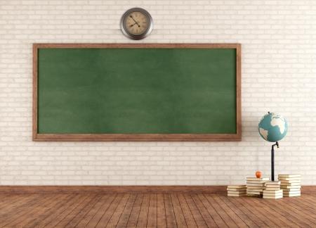Lege vintage klaslokaal met groene bord tegen muur - rendering