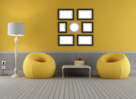 Yellow and grey old interior with two fascion armchair - rendering photo