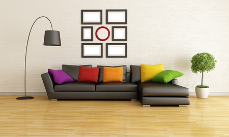 Modern Living Room With Black Sofa And Colorful Cushion ...