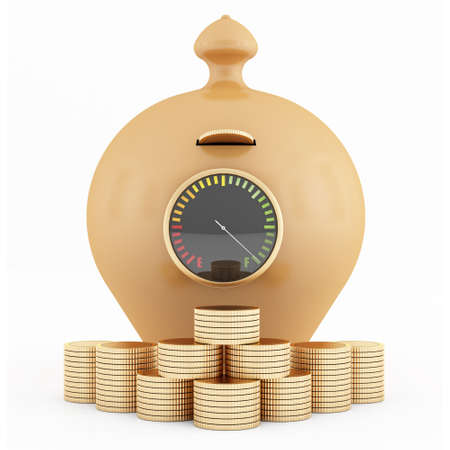 Full clay piggy-bank with fuel gauge and coins isolated on white - rendering photo