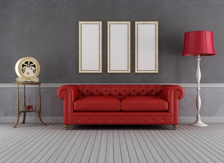 red sofa: Vintage living room with red couch and old radio - rendering