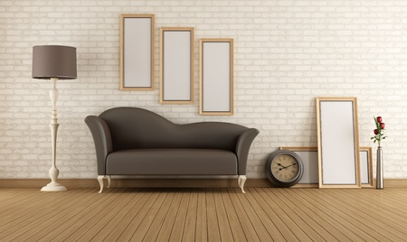 Vintage living room with brown couch and empty frame - rendering Stock Photo - 22028441