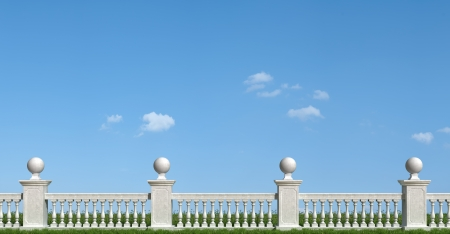 Classic balustrade with pedestal on grass - rendering