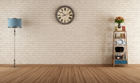 brick: Empty vintage room with little bookshelves and brick wall - rendering