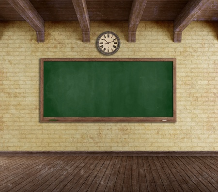 dirty room: Empty vintage classroom with blackboard on grunge brick-wall - rendering