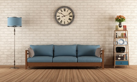 Vintage living room with wooden sofa  - rendering Stock Photo