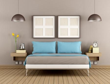 chambre � � coucher: Chambre � coucher contemporaine avec lit double - rendu