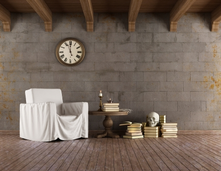 Grunge room with armchair covered with a sheet, old books, skull and candles - rendering Stock Photo - 22256614