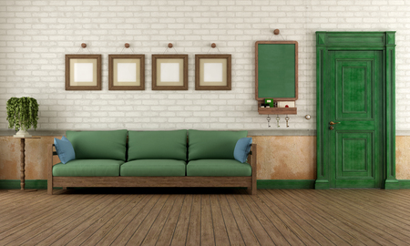 Vintage home entrance with wooden doorand green sofa - rendering photo