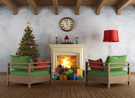 Interior with fireplace, two armchairs, colorful gifts and christmas tree in vintage style - rendering photo
