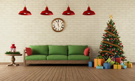 Living room with sofa, colorful gifts and christmas tree in vintage style - rendering Imagens