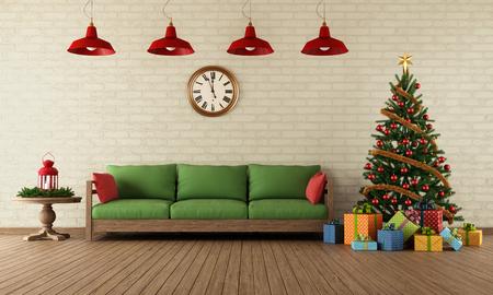 velas de navidad: Sala de estar con sof�, regalos de colores y �rboles de Navidad de estilo vintage - representaci�n