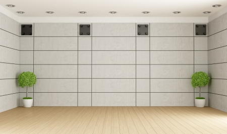 Empty room with concrete panel,parquet and plant - rendering Stock Photo - 22447990