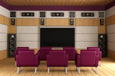 Contemporary home theater room with purple armchair and wooden panels - rendering photo