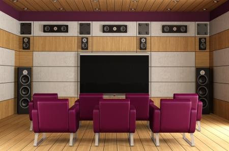 Posee una sala de cine en casa con paneles de madera y sillón púrpura - representación Foto de archivo - 22447985