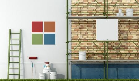 andamios: seleccionar la muestra de color de la pared de una antigua fachada de la pintura - representación Foto de archivo