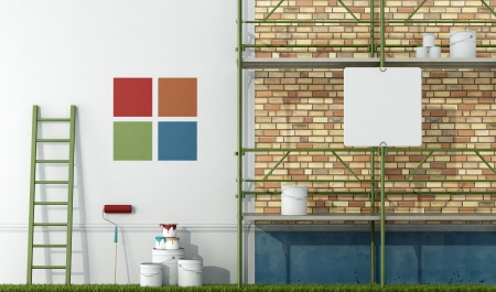 renewing: select color swatch to paint wall of an old facade - rendering