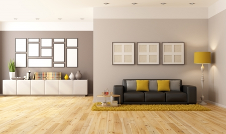 Contemporary living room with brown sofa and sideboard - rendering