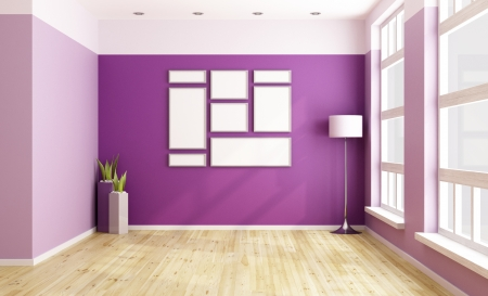 lilla: Empty purple room with blank frame and big windows - rendering