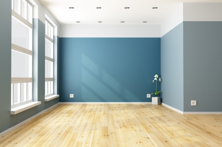 living room: Empty blue living room with big windows - rendering Stock Photo