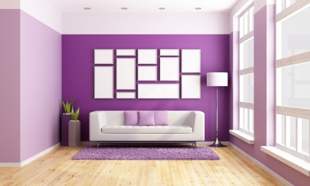 Bright living room with modern couch, purple wall and big wooden windows - rendering Stock Photo