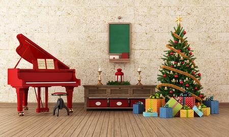 grand piano: Sala de estar de la vendimia con la decoraci�n de �rboles de Navidad y el rojo piano de cola Foto de archivo